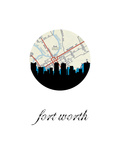Fort Worth Map Skyline Posters