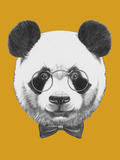 Original Drawing of Panda with Glasses and Bow Tie. Isolated Póster por  victoria_novak