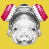 Portrait of Piggy with Gas Mask. Hand Drawn Illustration. Prints by  victoria_novak