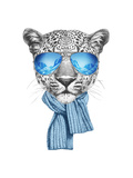 Portrait of Leopard with Mirror Sunglasses and Scarf. Hand Drawn Illustration. Posters by  victoria_novak