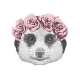 Portrait of Mongoose with Floral Head Wreath . Hand Drawn Illustration. Posters by  victoria_novak
