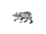 Geometric Grey Bear Prints by Melinda Wood