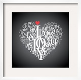 Heart Shape From Letters - Typographic Composition Prints by  feoris
