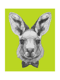 Portrait of Kangaroo with Glasses and Bow Tie. Hand Drawn Illustration. Posters af victoria_novak