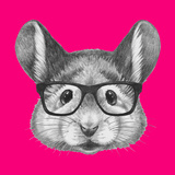 Portrait of Mouse with Glasses. Hand Drawn Illustration. Pósters por  victoria_novak