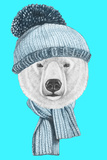 Portrait of Polar Bear with Hat and Scarf. Hand Drawn Illustration. Prints by  victoria_novak