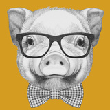 Portrait of Piggy with Glasses and Bow Tie. Hand Drawn Illustration. Prints by  victoria_novak