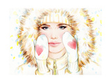 Woman in Fur Coat , Winter Accessories. Young Beauty Woman with Hat. Watercolor Illustration Prints by Anna Ismagilova