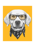 Portrait of Golden Retriever with Glasses and Scarf. Hand Drawn Illustration. Posters by  victoria_novak