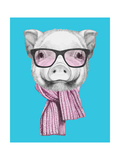Portrait of Piggy with Glasses and Scarf. Hand Drawn Illustration. Art by  victoria_novak