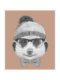 Portrait of Hipster Animal. Mongoose with Glasses, Hat and Bow Tie. Hand Drawn Illustration. Art by  victoria_novak