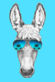 Portrait of Donkey with Mirror Sunglasses. Hand Drawn Illustration. Posters by  victoria_novak