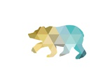 Mustard Teal Bear Poster by Melinda Wood