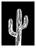 Cactus on Black Poster by Ashlee Rae