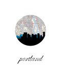 Portland Map Skyline Posters