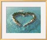 Aerial View Of Heart-Shaped Tropical Island Pósters por Mike_Kiev