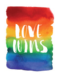 Love Wins Watercolor Rainbow Print by Brett Wilson