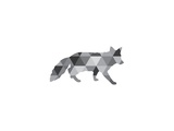 Geometric Grey Fox Print by Melinda Wood