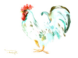 White Rooster Posters by Suren Nersisyan