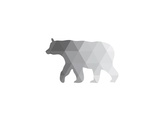 Grey Geometric Bear Prints by Melinda Wood