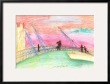 Lovers of the Dusk across the Bridge Framed Giclee Print by Mariko Miyake