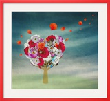 Flower Tree in the Shape of Heart, Valentine Prints by  vipa21