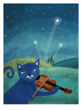 Cat And Violin Art by Mia Charro
