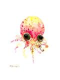 Baby Octopus Peach Color Prints by Suren Nersisyan