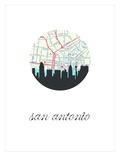 San Antonio Map Skyline Poster