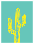 Cactus on Teal Poster by Ashlee Rae