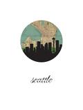 Seattle Map Skyline Prints