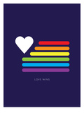 Love Wins Rainbow Flag Print by Brett Wilson