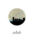 Toledo Map Skyline Print