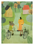 Cat And Bicycle Posters by Mia Charro