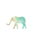 Mint Gold Elephant Prints by Melinda Wood