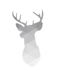 Grey Geometric Deer Print by Melinda Wood