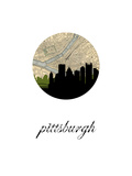 Pittsburgh Map Skyline Poster