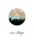 San Diego Map Skyline Poster
