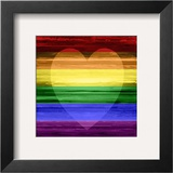 Rainbow Heart Framed Giclee Print by Maggie Olsen