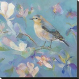 Birds in Magnolia - Detail II Stretched Canvas Print by Sarah Simpson