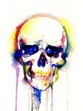 Skull .Watercolor Illustration Photographic Print by Anna Ismagilova