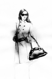 Woman in Coat. Hand Painted Fashion Illustration Photographic Print by Anna Ismagilova
