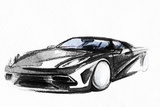 Car. Art Sketch . Sport Car. Pencil Drawing Photographic Print by Anna Ismagilova