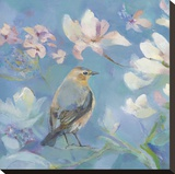 Birds in Magnolia - Detail I Stretched Canvas Print by Sarah Simpson