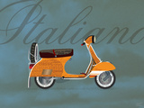 Italiano Vespa Orange on Blue Poster by Dominique Vari