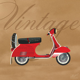 Vintage Vespa Red Art by Dominique Vari