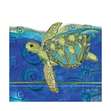 Coastal-Sea Turtle-Swirly Ocean Art by Robbin Rawlings