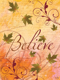 Believe and Swirling Autumn Leaves Print by Bee Sturgis
