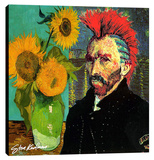 Van Gogh Mohaw & Sunflowers Stretched Canvas Print by Steve Kaufman