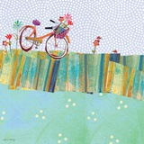 Polka Dot Delight - Tangerine Bicycle Posters by Robbin Rawlings